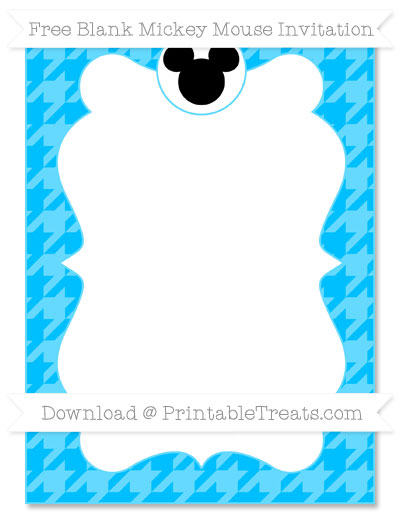 Free Deep Sky Blue Houndstooth Pattern Blank Mickey Mouse Invitation