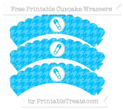 Free Deep Sky Blue Houndstooth Pattern Diaper Pin Scalloped Cupcake Wrappers