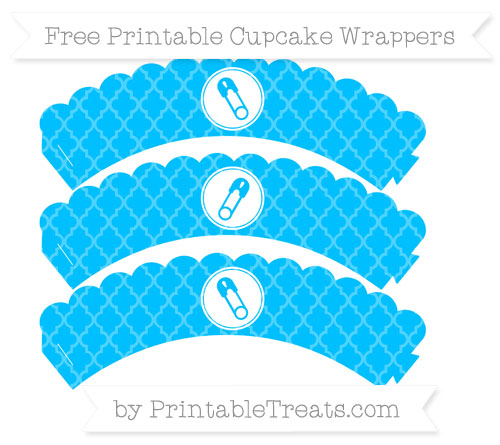 Free Deep Sky Blue Moroccan Tile Diaper Pin Scalloped Cupcake Wrappers