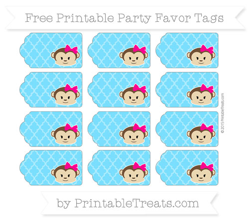 Free Deep Sky Blue Moroccan Tile Girl Monkey Party Favor Tags