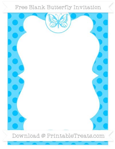 Free Deep Sky Blue Polka Dot Blank Butterfly Invitation
