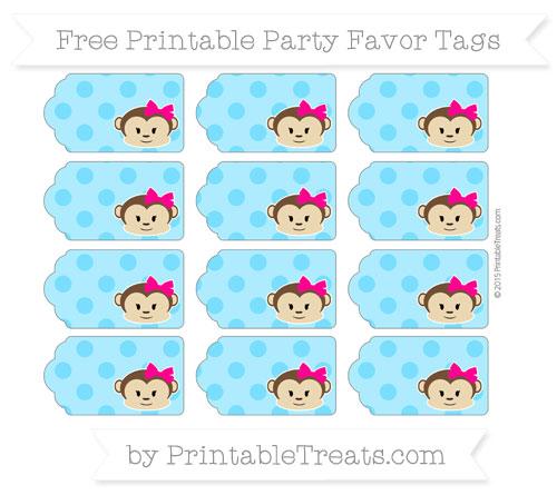 Free Deep Sky Blue Polka Dot Girl Monkey Party Favor Tags
