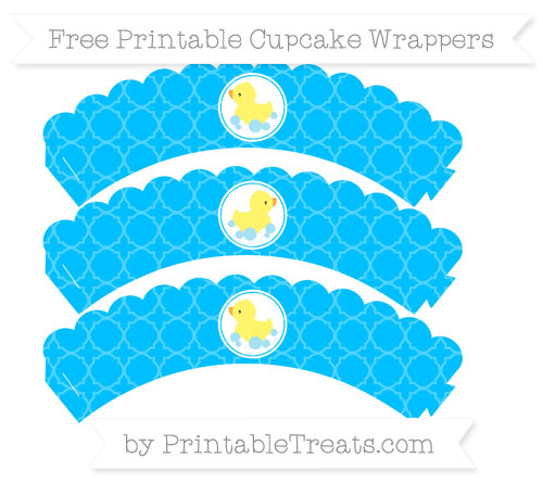 Free Deep Sky Blue Quatrefoil Pattern Baby Duck Scalloped Cupcake Wrappers