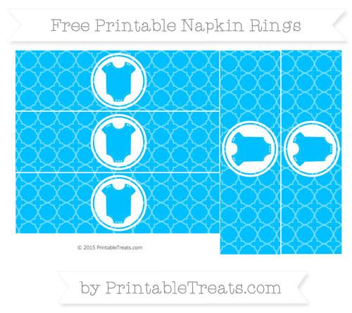 Free Deep Sky Blue Quatrefoil Pattern Baby Onesie Napkin Rings