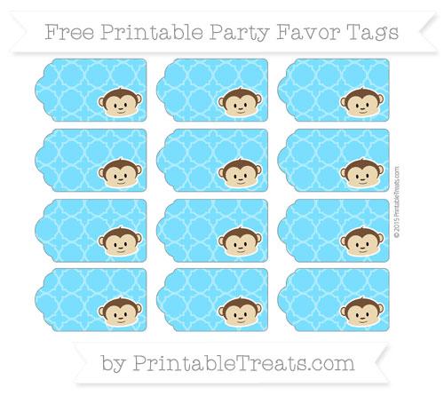 Free Deep Sky Blue Quatrefoil Pattern Boy Monkey Party Favor Tags