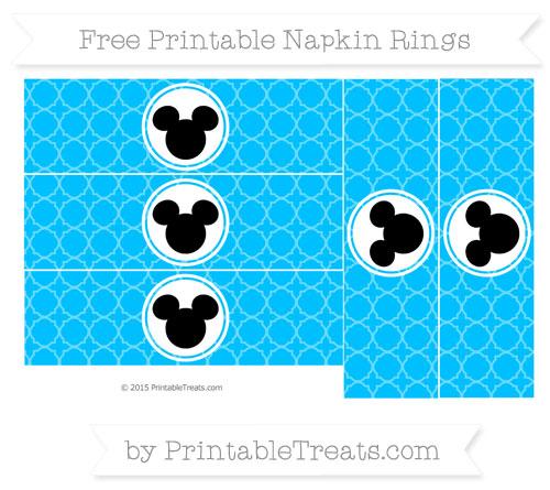 Free Deep Sky Blue Quatrefoil Pattern Mickey Mouse Napkin Rings