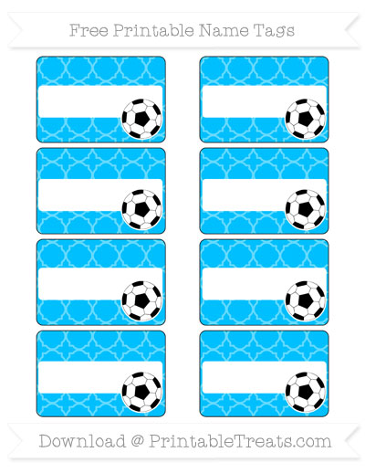 Free Deep Sky Blue Quatrefoil Pattern Soccer Name Tags