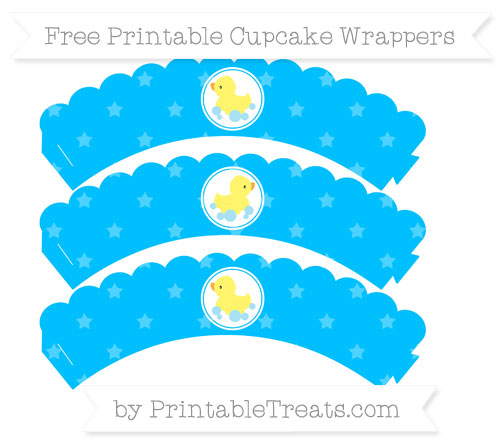 Free Deep Sky Blue Star Pattern Baby Duck Scalloped Cupcake Wrappers