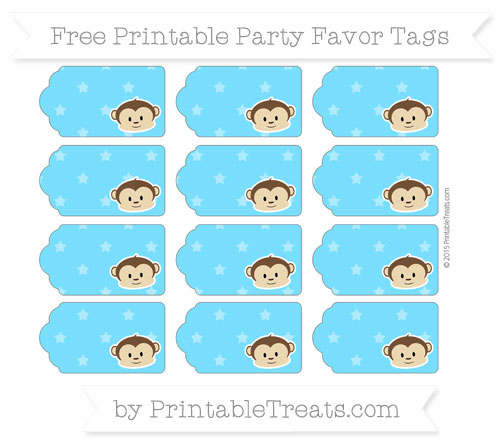 Free Deep Sky Blue Star Pattern Boy Monkey Party Favor Tags