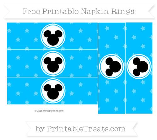 Free Deep Sky Blue Star Pattern Mickey Mouse Napkin Rings