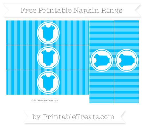 Free Deep Sky Blue Striped Baby Onesie Napkin Rings
