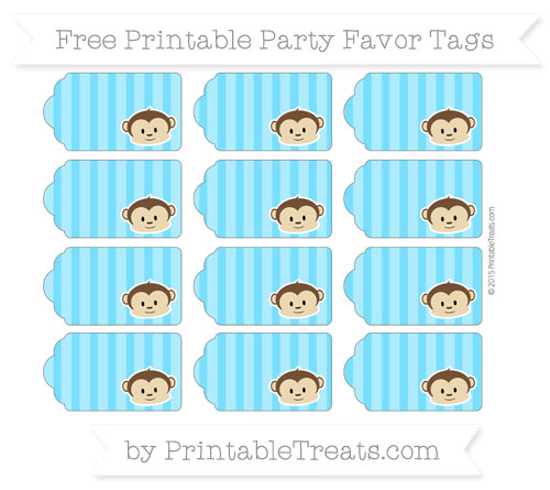 Free Deep Sky Blue Striped Boy Monkey Party Favor Tags