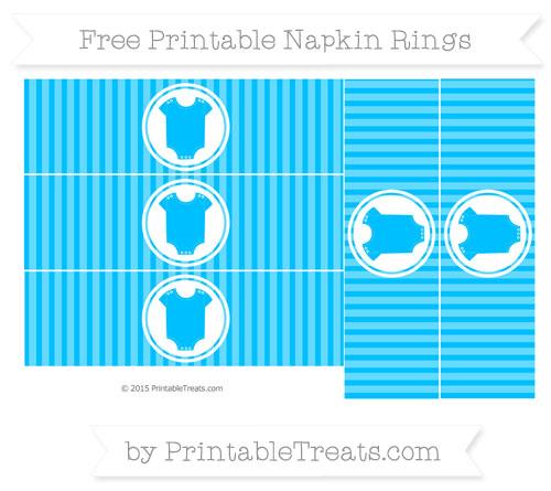 Free Deep Sky Blue Thin Striped Pattern Baby Onesie Napkin Rings