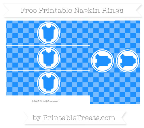 Free Dodger Blue Checker Pattern Baby Onesie Napkin Rings