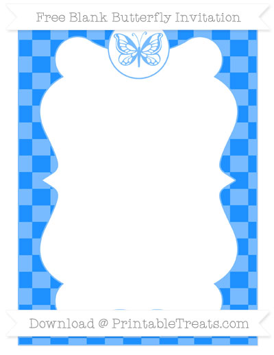 Free Dodger Blue Checker Pattern Blank Butterfly Invitation