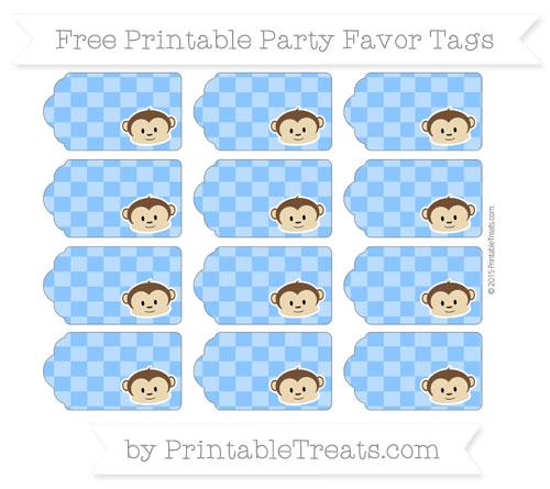 Free Dodger Blue Checker Pattern Boy Monkey Party Favor Tags