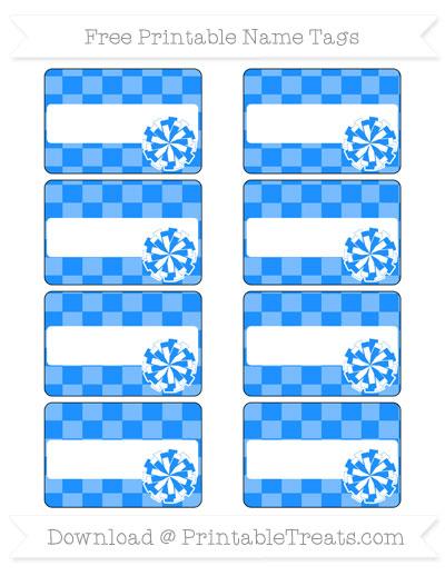 Free Dodger Blue Checker Pattern Cheer Pom Pom Tags