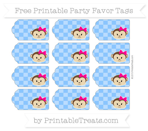 Free Dodger Blue Checker Pattern Girl Monkey Party Favor Tags
