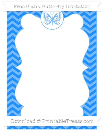 Free Dodger Blue Chevron Blank Butterfly Invitation
