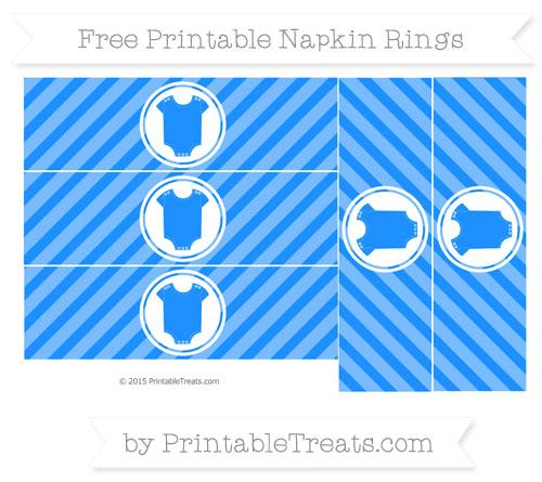 Free Dodger Blue Diagonal Striped Baby Onesie Napkin Rings
