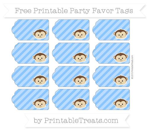 Free Dodger Blue Diagonal Striped Boy Monkey Party Favor Tags