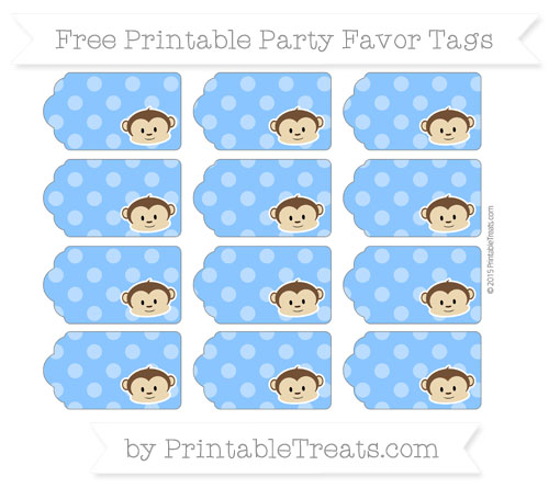 Free Dodger Blue Dotted Pattern Boy Monkey Party Favor Tags