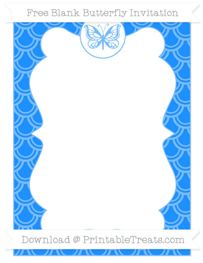 Free Dodger Blue Fish Scale Pattern Blank Butterfly Invitation