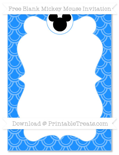 Free Dodger Blue Fish Scale Pattern Blank Mickey Mouse Invitation