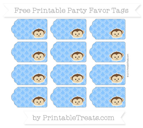 Free Dodger Blue Fish Scale Pattern Boy Monkey Party Favor Tags