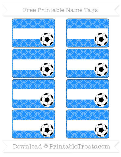 Free Dodger Blue Fish Scale Pattern Soccer Name Tags