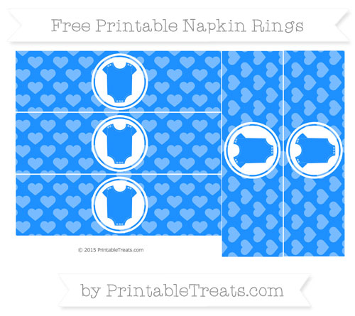 Free Dodger Blue Heart Pattern Baby Onesie Napkin Rings