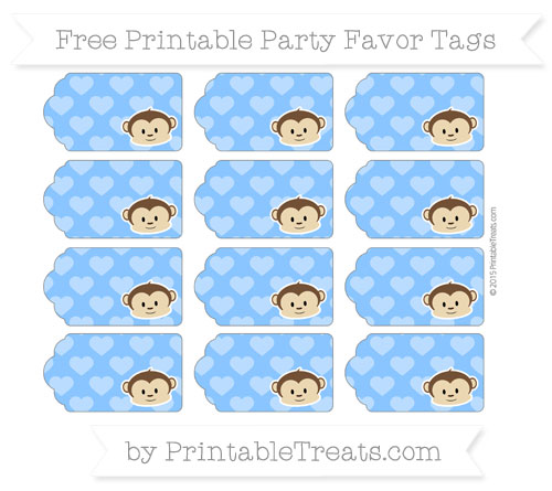 Free Dodger Blue Heart Pattern Boy Monkey Party Favor Tags