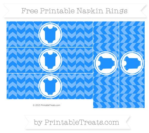 Free Dodger Blue Herringbone Pattern Baby Onesie Napkin Rings