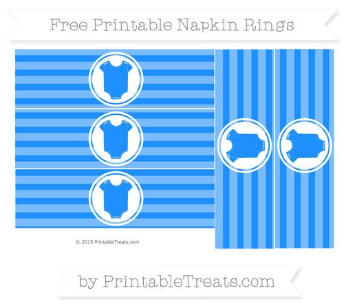 Free Dodger Blue Horizontal Striped Baby Onesie Napkin Rings