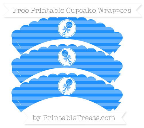 Free Dodger Blue Horizontal Striped Baby Rattle Scalloped Cupcake Wrappers