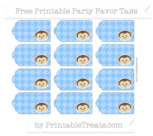 Free Dodger Blue Houndstooth Pattern Boy Monkey Party Favor Tags