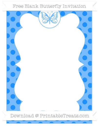 Free Dodger Blue Polka Dot Blank Butterfly Invitation