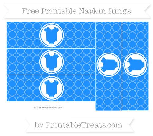 Free Dodger Blue Quatrefoil Pattern Baby Onesie Napkin Rings