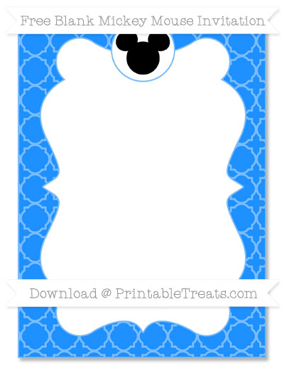 Free Dodger Blue Quatrefoil Pattern Blank Mickey Mouse Invitation