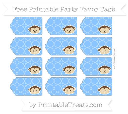 Free Dodger Blue Quatrefoil Pattern Boy Monkey Party Favor Tags