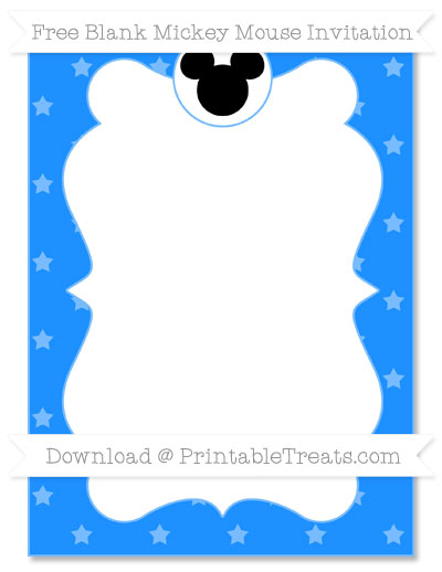 Free Dodger Blue Star Pattern Blank Mickey Mouse Invitation