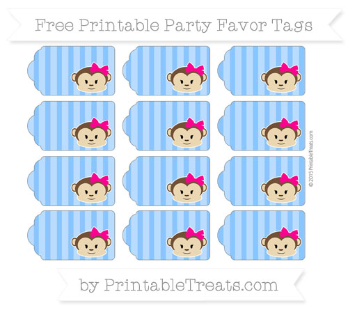 Free Dodger Blue Striped Girl Monkey Party Favor Tags