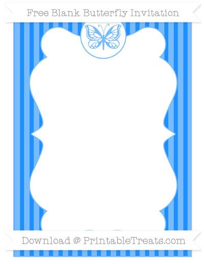 Free Dodger Blue Thin Striped Pattern Blank Butterfly Invitation