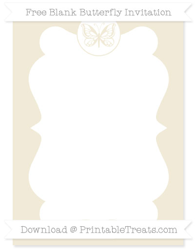 Free Eggshell Blank Butterfly Invitation