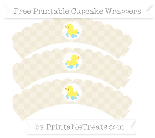 Free Eggshell Checker Pattern Baby Duck Scalloped Cupcake Wrappers