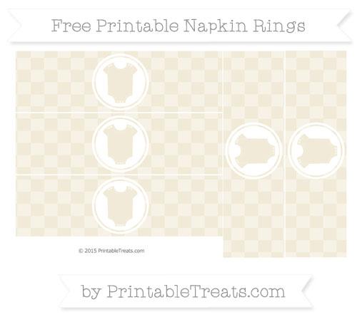 Free Eggshell Checker Pattern Baby Onesie Napkin Rings