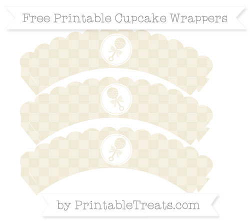 Free Eggshell Checker Pattern Baby Rattle Scalloped Cupcake Wrappers