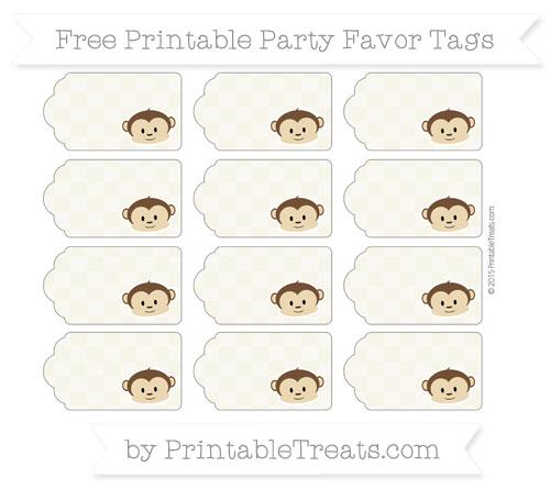 Free Eggshell Checker Pattern Boy Monkey Party Favor Tags