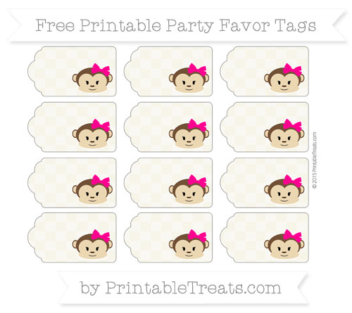 Free Eggshell Checker Pattern Girl Monkey Party Favor Tags