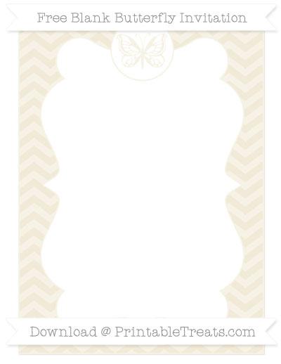 Free Eggshell Chevron Blank Butterfly Invitation